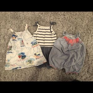 Baby Gap Rompers and Dress 3-6 Mo